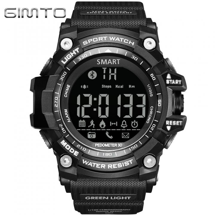 GIMTO GM308 Smart Watch Sport Outdoor Wristwatch Waterproof Bluetooth black one size