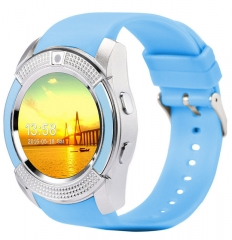 Sports Smart Watch V8 Full Screen Bluetooth Smartwatch Support TF SIM Card Anti-lost blue one size