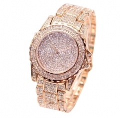 Women Wristwatch All Over Artificial Diamonds Alloy Watchband Rose Gold