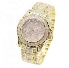 Women Wristwatch All Over Artificial Diamonds Alloy Watchband Gold