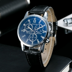 Men's Circular Quartz Watch Leather Band Wrist Watch Large Dial Analog Casual Fashion black&black one size