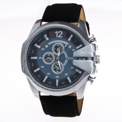 Men's Leather Circular Quartz Watch Wrist Watch Large Dial Fashion silver-black-black one size