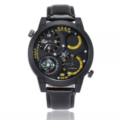 Men's Leather Circular Quartz Watch Sport Wrist Watch Built-in Compass Dual Time Display yellow one size