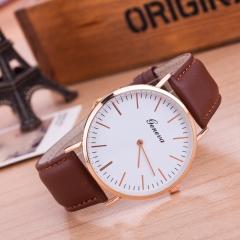 Women's Circular Quartz Watch Watch Leather Band Wrist Watch Fashion brown One Size