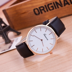 Men's Circular Quartz Watch Watch Leather Band Wrist Watch Fashion black one size