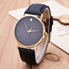 Women's Circular Quartz Watch Leather Band Wrist Watch Fashion black one size
