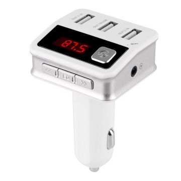 BC12 Car Bluetooth Car mp3 Bluetooth Speakerphone Bluetooth mp3 Player 3USB Car Charger white 1