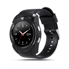 3D Surface Capacitive Touch Round Screen Bluetooth Call   Support SM Card TF V8 Card Smart Watch Black One