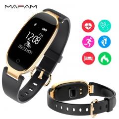 Female intelligent sports bracelet S3 girls monitor heart rate sleep pedometer smart watch black one