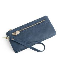 Fashion Women Wallets Long PU Leather Wallet Female Double Zipper Clutch Coin Purse Ladies Wristlet Navy Blue Long