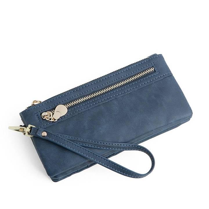 Fashion Women Wallets Long PU Leather Wallet Female Double Zipper Clutch Coin Purse Ladies Wristlet Navy Blue Long
