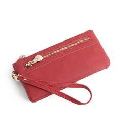 Fashion Women Wallets Long PU Leather Wallet Female Double Zipper Clutch Coin Purse Ladies Wristlet Red Long