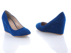 Classic  Royal Blue Suede Wedge  Ladies Shoes TO FIT SIZE 38 BIG/39 Blue 36