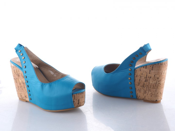 Classic Open toe with slingback Wedge Ladies Shoes Blue 38