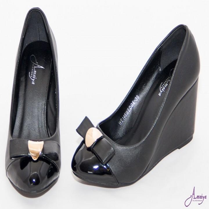 Amaiya Elegance Wet Look Black Ballerina Ladies  Wedge Black 39