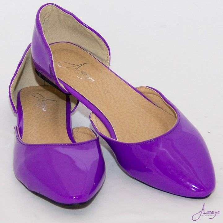 Amaiya Elegance Purple Pointed Toe Ballerina Ladies Shoes Royal Purple 39