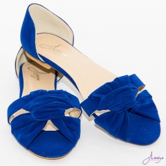 Amaiya Elegance Royal Blue OpenToe Ballerina Ladies Shoes Royal Blue 40
