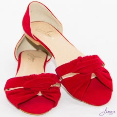 Amaiya Elegance Red Open Toe Ballerina Ladies Shoes Red 39