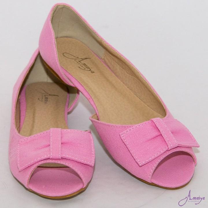 Amaiya Elegance BabyPink Open Toe Ballerina Ladies Shoes Baby Pink 39