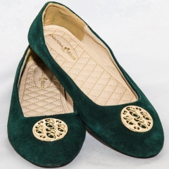 Amaiya Elegance Velvet-Green FIne-Tuned Ballerina Ladies Shoes