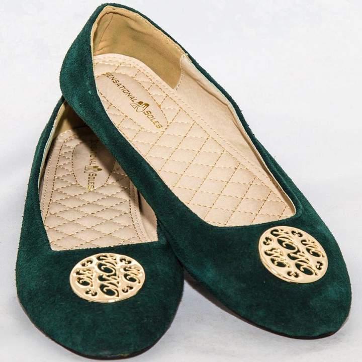 Amaiya Elegance Velvet-Jungle Green FIne-Tuned Ballerina Ladies Shoes Jungle Green 43