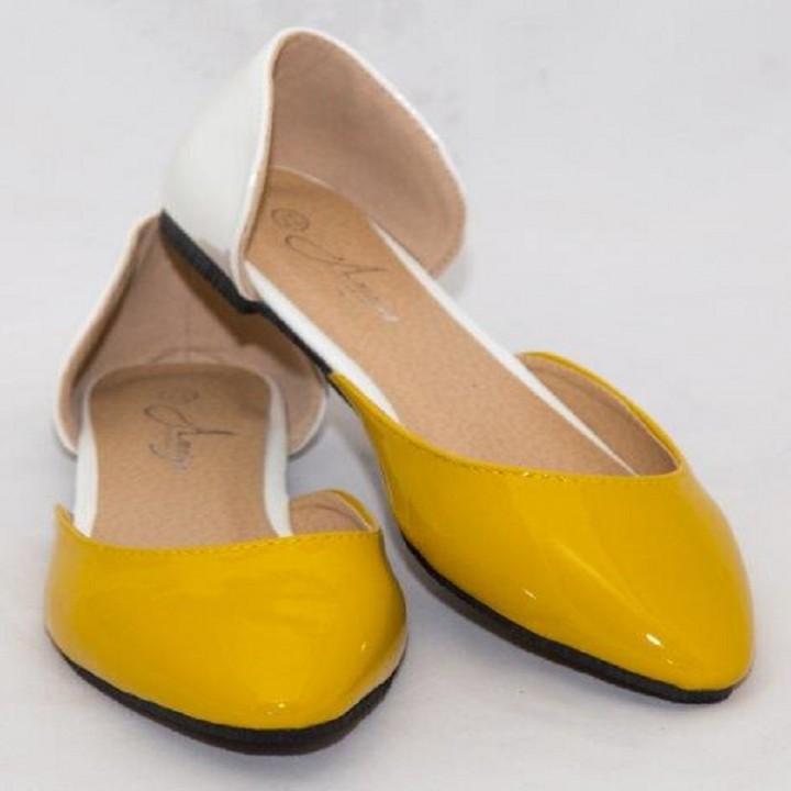 Amaiya Elegance Ivory Yellow Naked Pointed Toe Ballerina Ladies Shoes ivory + yellow 40