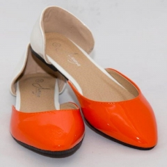 Amaiya Elegance  Classy Ivory Orange Toe Pointed Ballerina Ladies Shoes ivory+orange 39