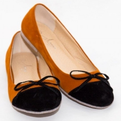 Amaiya Elegance Black an Brown Suede Ballerina Ladies Shoes Black 39