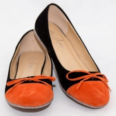 Amaiya Elegance Trendy Black with Rustic Orange Suede Finish Ballerina Ladies Shoes 40