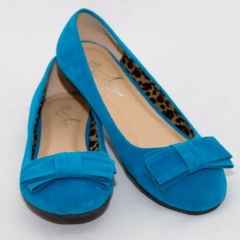 Amaiya Elegance Turquoise Blue Bow Ballerina  Shoes suede shoes Turqouise Blue 40