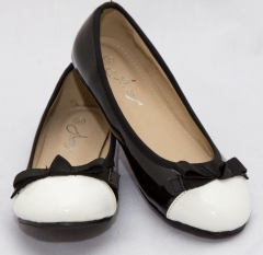 Amaiya Elegance round toe patent black with white cap and bow black + white 40