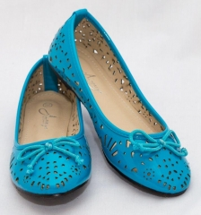 Amaiya Elegance blue geo cut doll shoe with simple bow blue 38