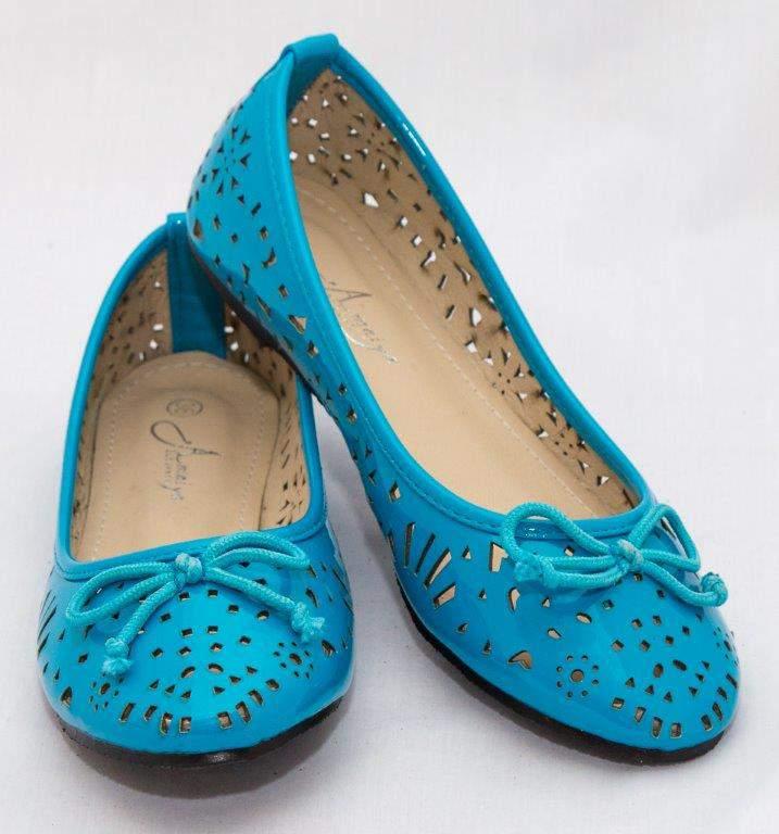 Amaiya Elegance blue geo cut doll shoe with simple bow blue 39