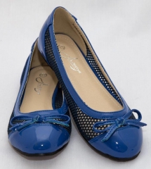 Amaiya Elegance round toe patent leather with mesh design , simple bow blue 40