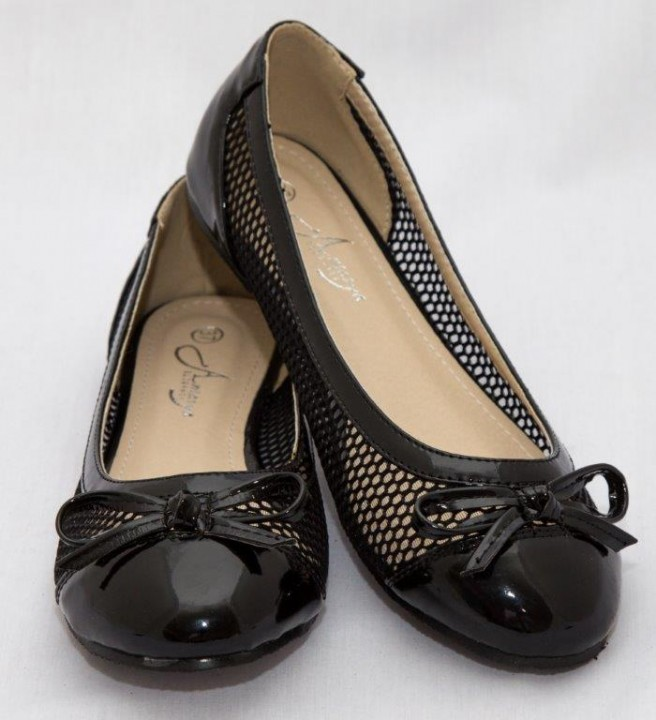 Amaiya Elegance round toe patent leather with mesh design , simple bow black 40