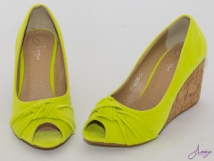 Amaiya Elegance Classic  Wedge  Suede  Lime with peep toe green 40
