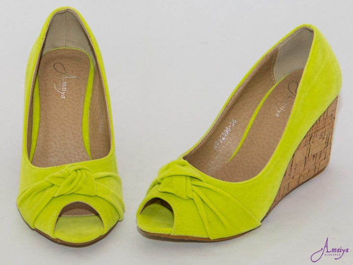 Amaiya Elegance Classic  Wedge  Suede  Lime with peep toe green 39