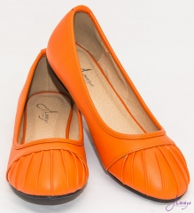 Amaiya Elegance Trendy orange pleated Ballerina Ladies Shoes Orange pleated 39