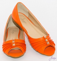 Amaiya Elegance Trendy orange pleated Ballerina Ladies Shoes with peep toe orange pleated 39