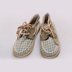 Amaiya Elegance checked  kids shoes checked green + cream 25