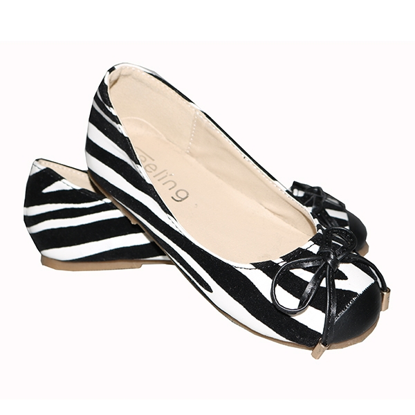 Amaiya Elegance suede white stripped with black kids shoes black + white 25