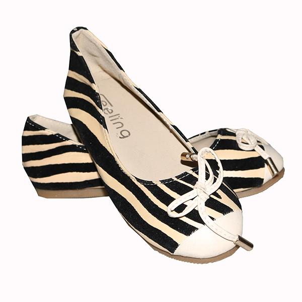 Amaiya Elegance suede cream stripped black kids shoes cream+ black 25