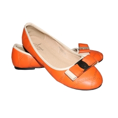 Amaiya elegance orange  with cream bow ladies shoes orange + cream 36