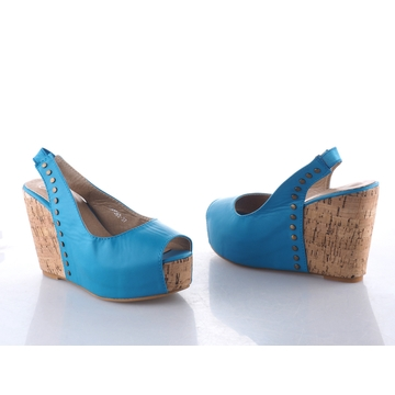 Classic Open toe with slingback Wedge Ladies Shoes blue 39