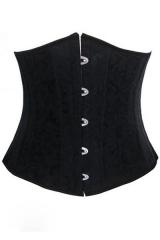 Plus Size Black Jacquard Underbust Corset with 24 Steel Bones black MS
