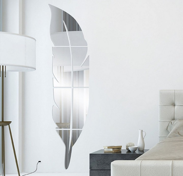Removable Adhesive 3D Feather Mirror Stick Decal Home Party Decoration Art Mural Stickers DIY White onesize