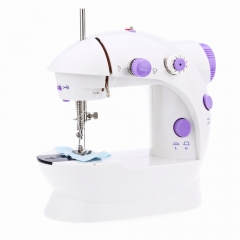 Portable Mini Handhold Home Sewing Machine Double Speed Automatic with Lighting Lamp white