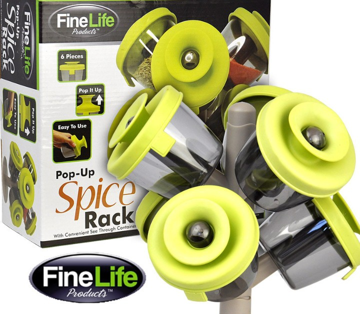 Finelife Pop up spice rack Seasoning cans The tree shape pot 6 piece green as picture green onesize