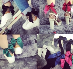 1 Pair Women Street Style  Bowknot Fishnet Short Socks Ankle Mesh Fishing Net black one size