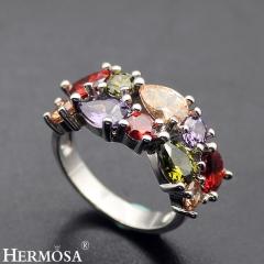 Hermosa® New 925 Sterling Silver AMETHYST GARNET MORGANITE PERIDOT Ring silver size 8